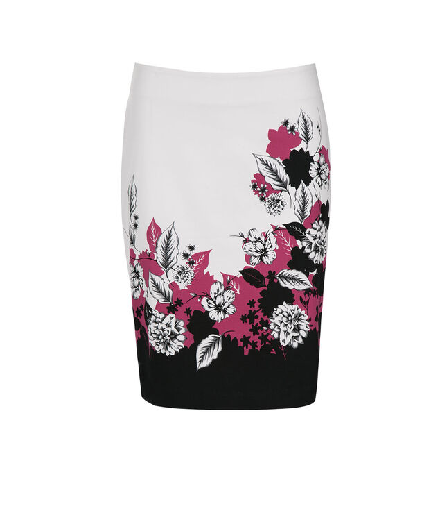 Border Print Pencil Skirt, Vibrant Pink/Black/White, hi-res