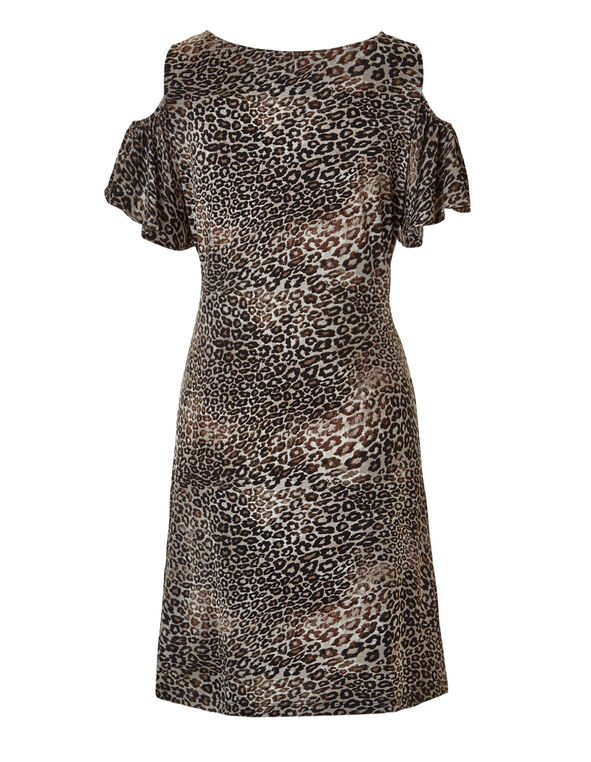 Brown Print Floral Dress, Brown/Black/Nude, hi-res