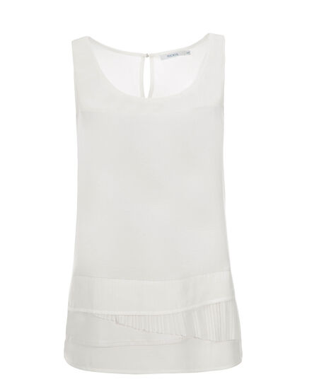 Layered Pleat Hem Tank, Milkshake, hi-res