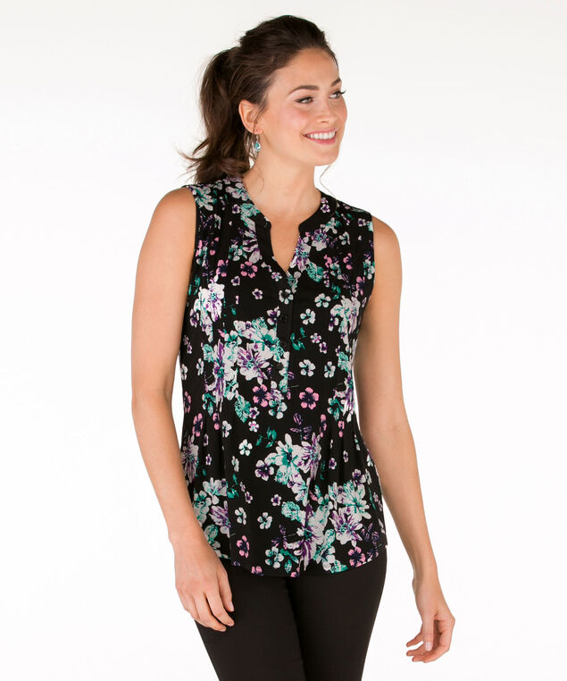 Sleeveless Pintuck Shirt, Black Pattern, hi-res