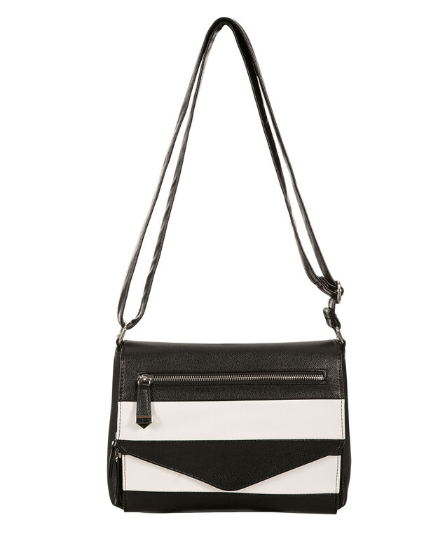 Striped Crossbody Bag, Black/White, hi-res
