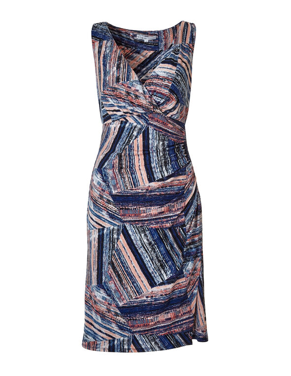 Coral Geometric Print Shift Dress, Coral/Blue/White, hi-res