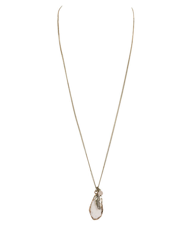 Feather Cluster Pendant Necklace, White/Burnished Gold, hi-res