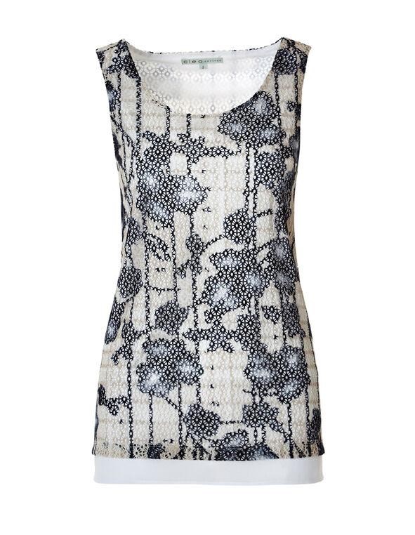 Sleeveless Floral Crochet Top, White/Navy/Stone, hi-res
