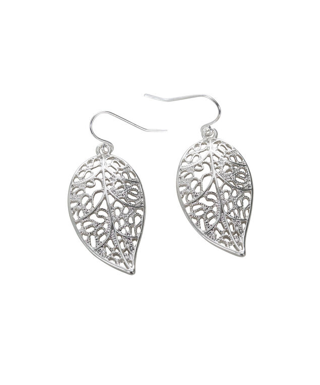 Filigree Leaf Earring, Rhodium, hi-res