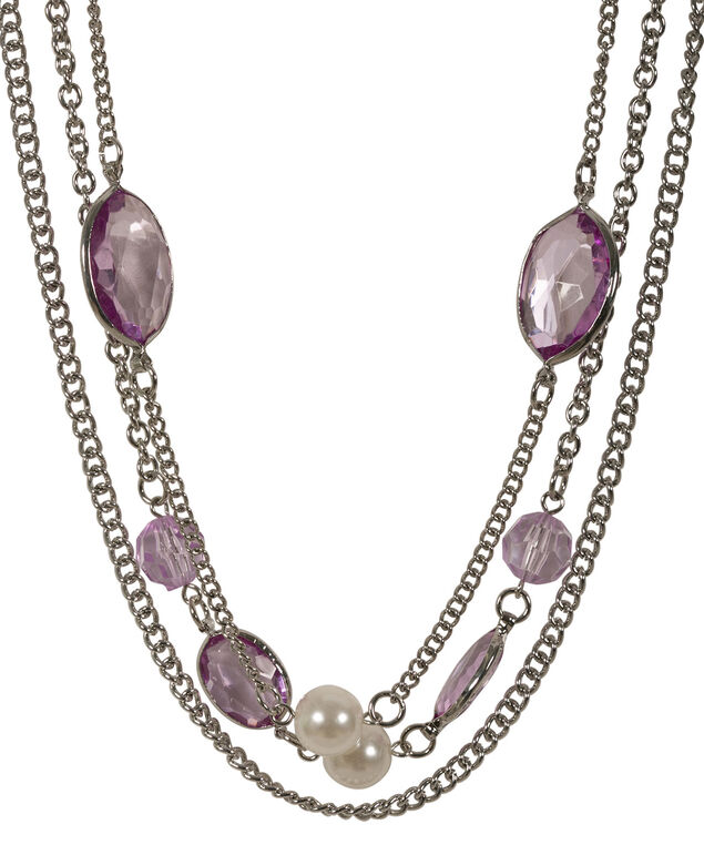 Stationed Bead Necklace, Iced Violet/Rhodium, hi-res