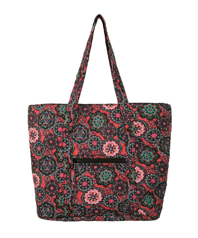 Quilted Floral Print Tote Bag, Red/Purple, hi-res