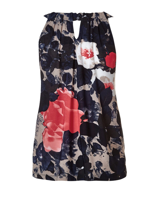 Navy Floral Print Halter Top, Navy/Coral/Stone/White, hi-res