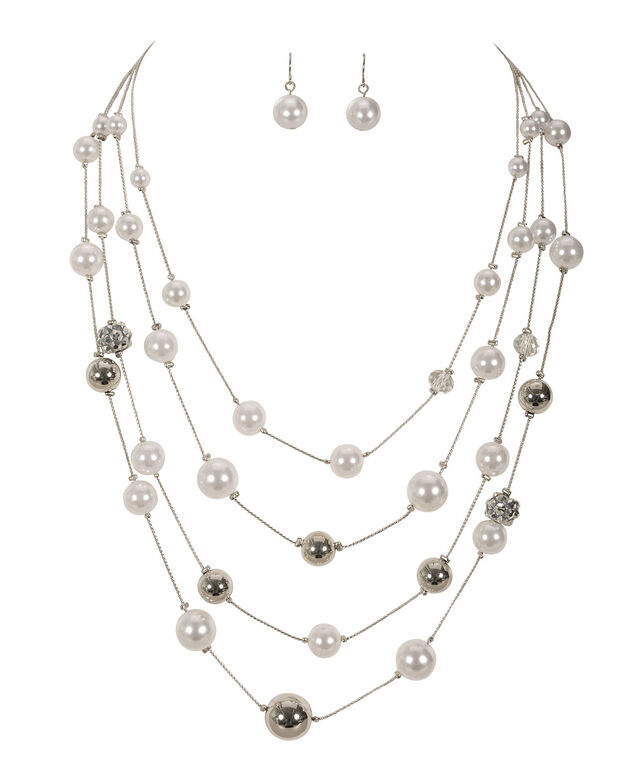 Stationed Pearl Necklace Set, White/Rhodium, hi-res