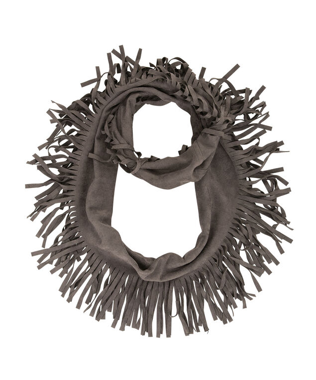 Faux Suede Eternity Scarf, Dark Grey, hi-res