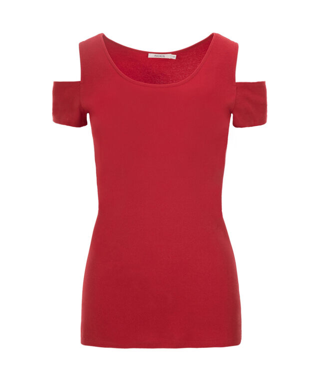 Cold Shoulder Tee, Poppy Red, hi-res