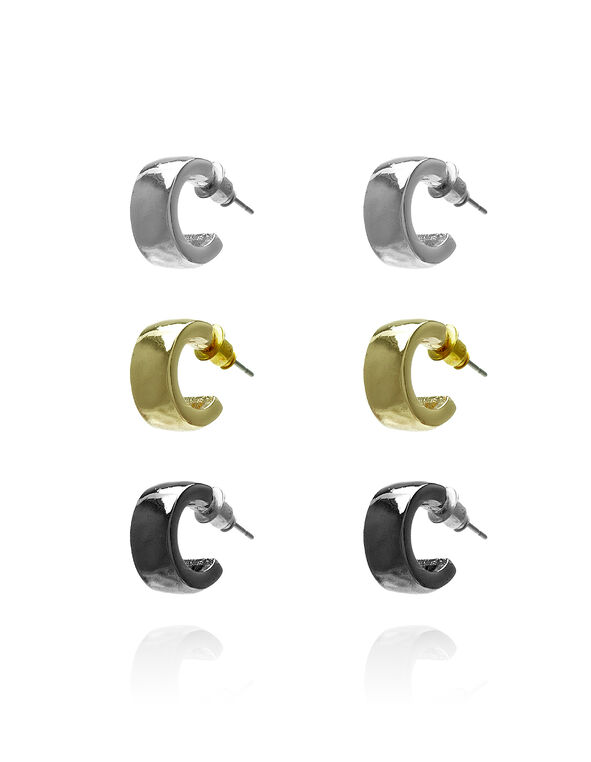 Small Hoop Earring Set, Rhodium/Gold/Hemi, hi-res