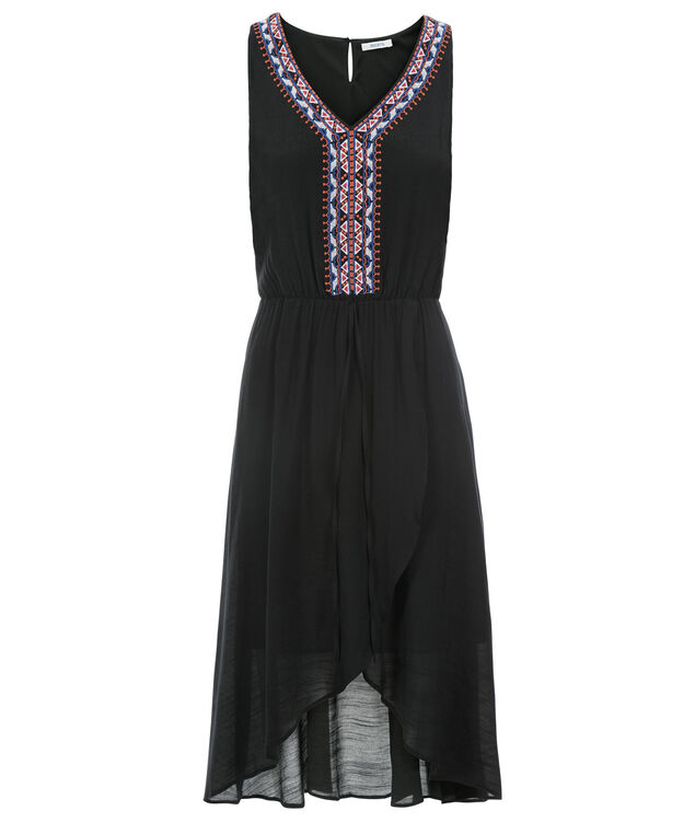 Embroidered High Low Dress, Black, hi-res
