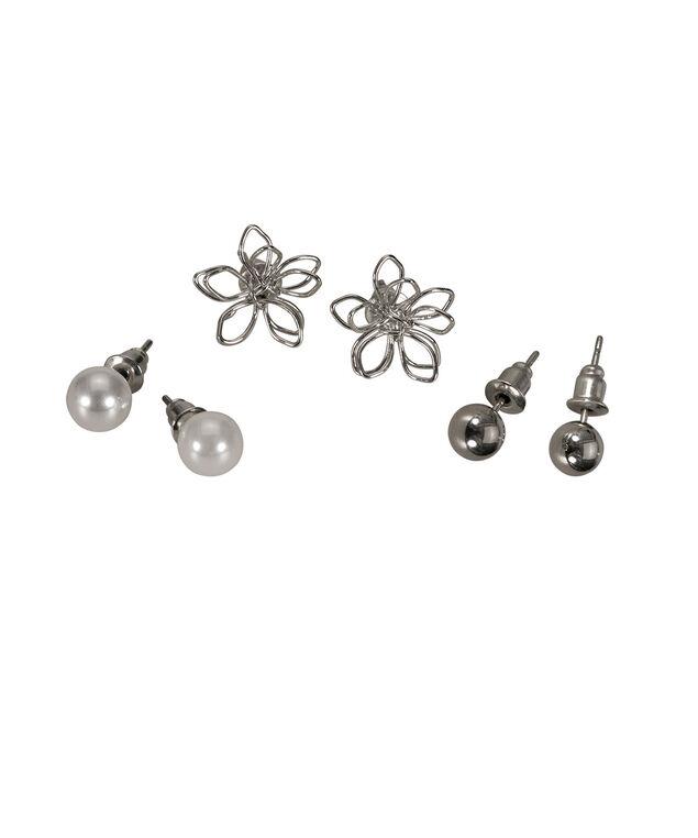 Wire Flower Earring Set, Rhodium, hi-res
