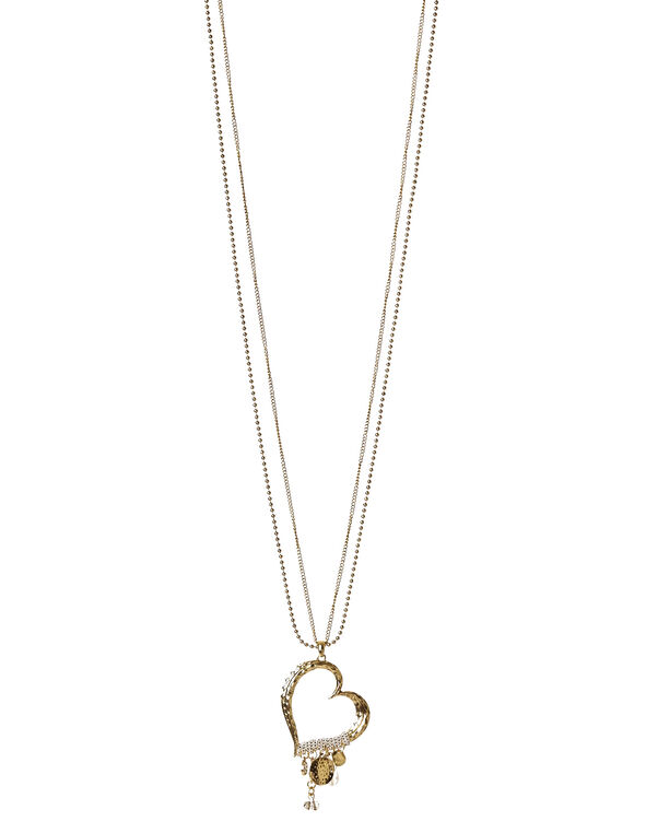 Gold Heart Pendant Necklace, Gold, hi-res