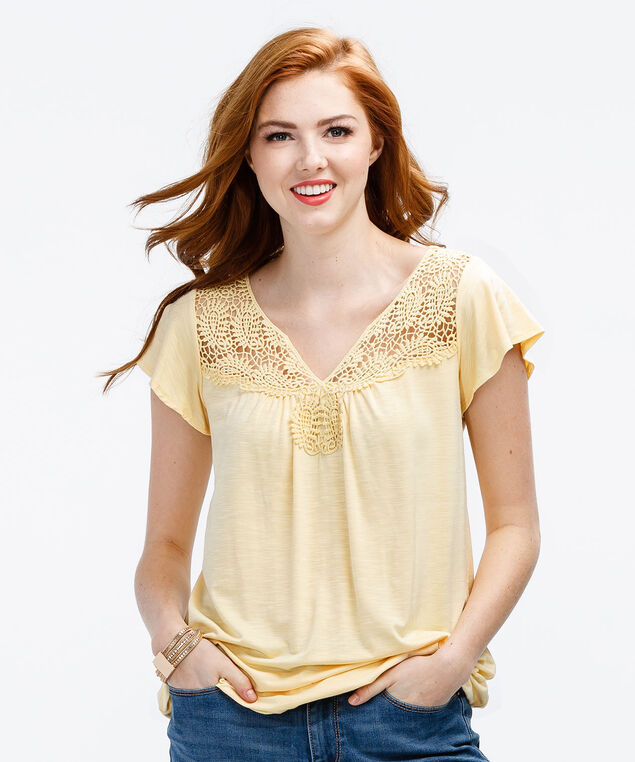 Flutter Sleeve Crochet Yoke Bubble, Washed Yellow, hi-res