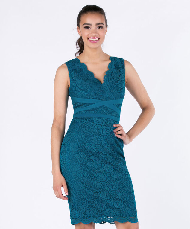 Sangria Banded Lace Sheath Dress, Teal, hi-res