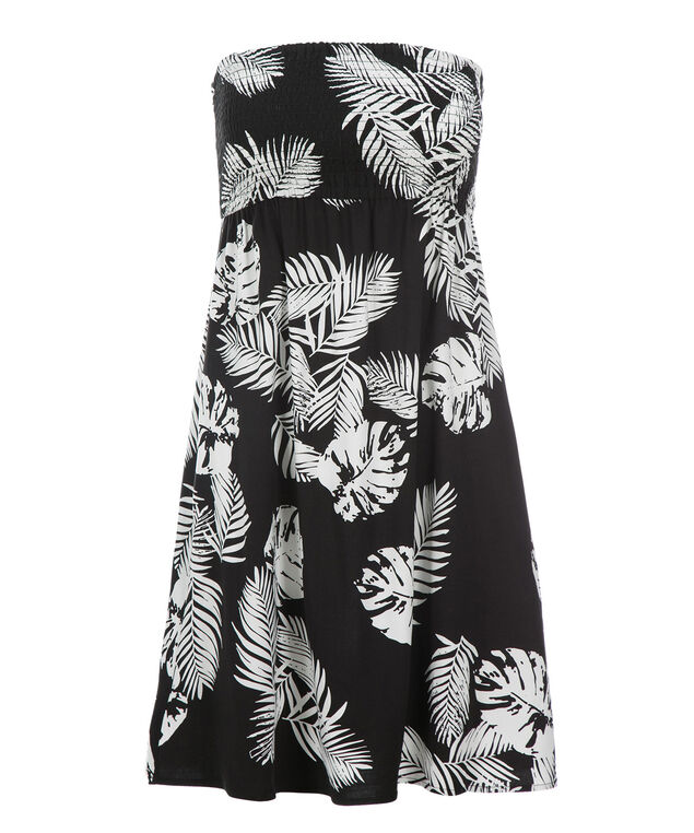 Smocked Bandeau Challis Dress, Black/White Print, hi-res