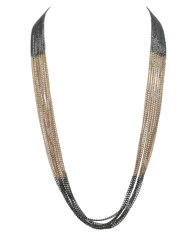 Ombre Multi Chain Necklace, Hematite/Soft Gold, hi-res