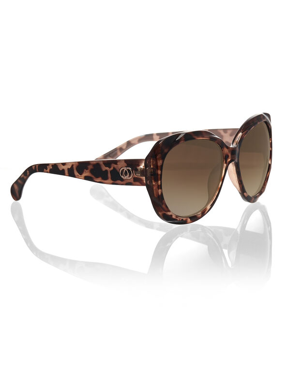 Tortoise Sculpture Frame Sunglasses, Brown, hi-res