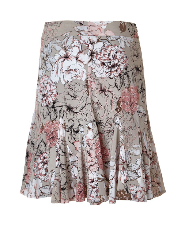 Pink Floral Flippy Skirt, Pink/Stone/Peony/White, hi-res