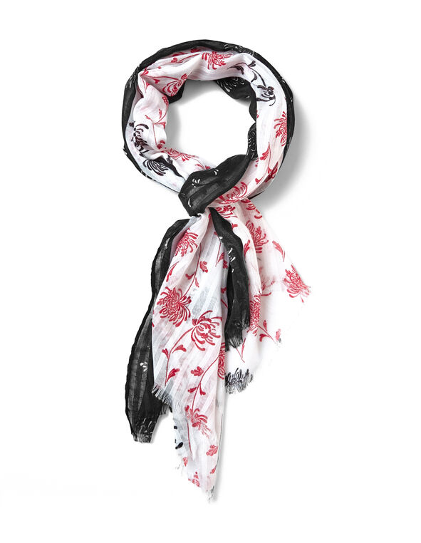 Textured Floral Scarf, Red, hi-res