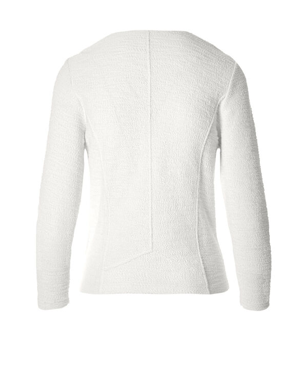 White Textured Knit Jacket, White, hi-res