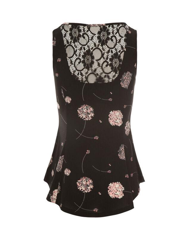Lace Back Peplum, Pink Print, hi-res