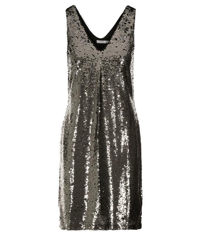 Sequin Shift Dress, Silver/Black Sequin, hi-res
