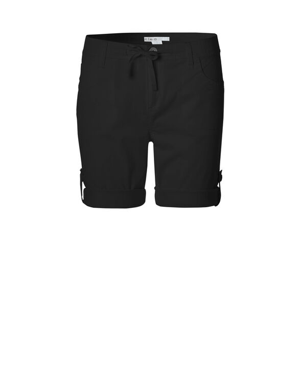 Black Poplin Roll Up Short, Black, hi-res