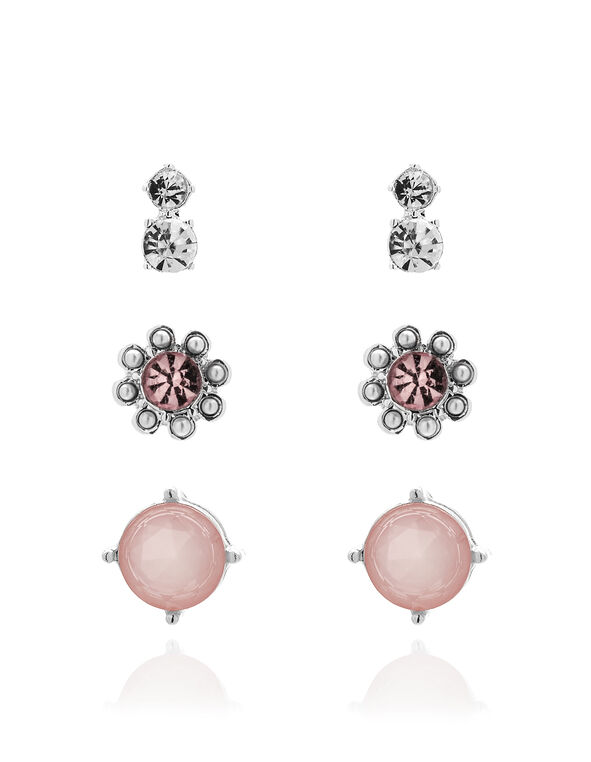 Pink Crystal Earring Set, Silver/Pink, hi-res