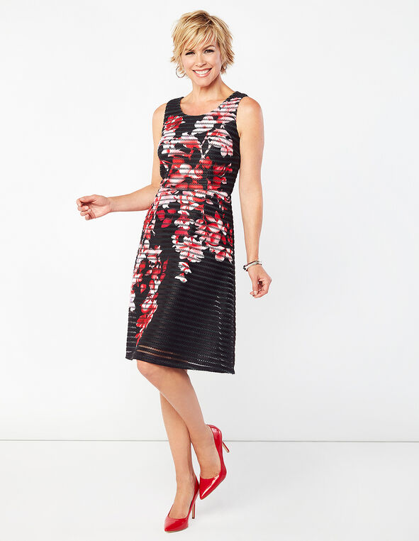 Black Floral Fit and Flare Dress, Black/Red Floral Print, hi-res