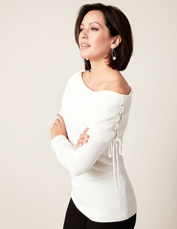 Ivory Marilyn Neck Pullover, Ivory, hi-res