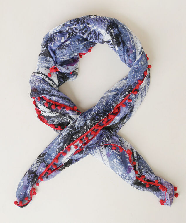 pompom scarf, RED/BLUE, hi-res