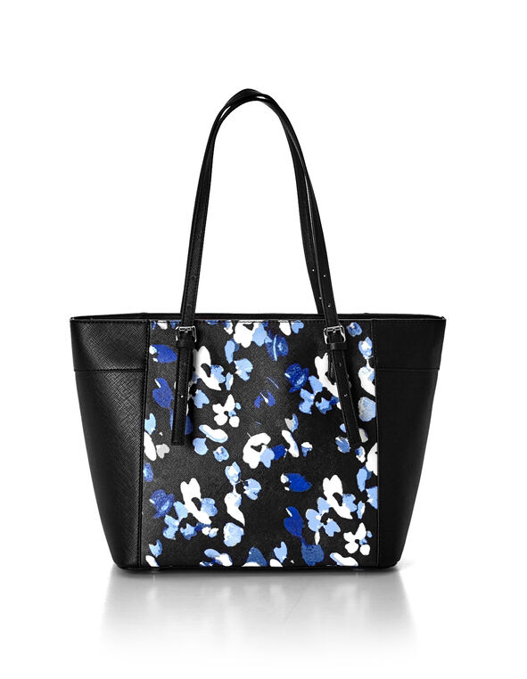 Blue Floral Printed Tote, Black/Blue/White, hi-res
