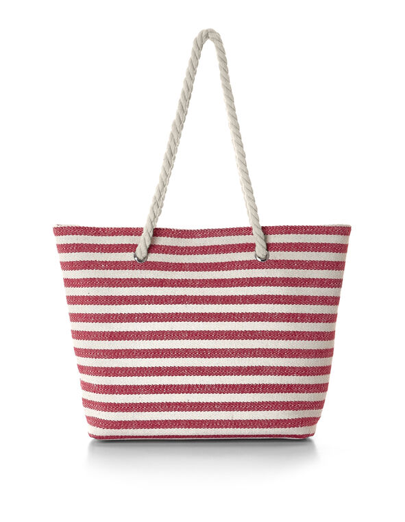 Red Striped Canvas Tote, Red/Neutral, hi-res