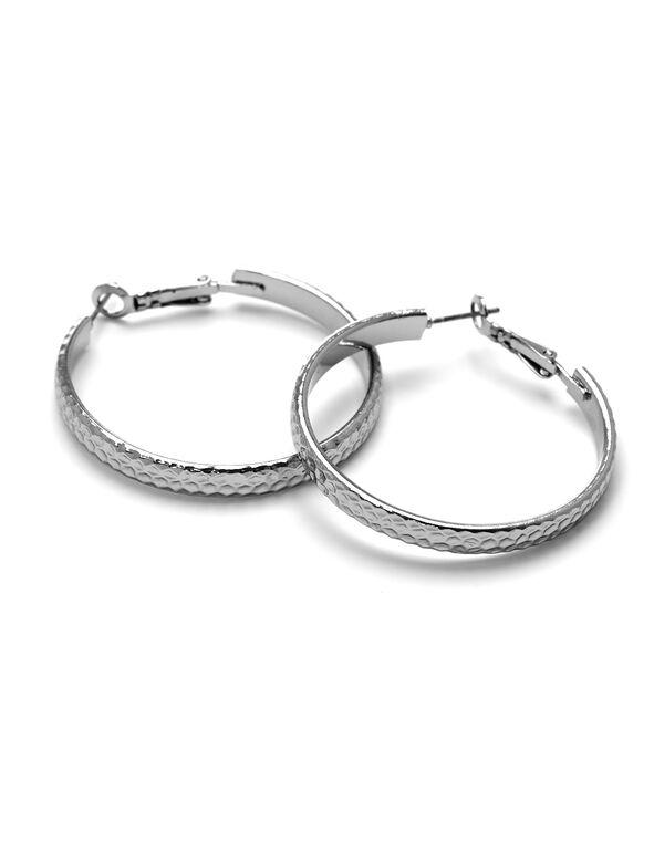 Hammered Hoop Earring, Rhodium, hi-res