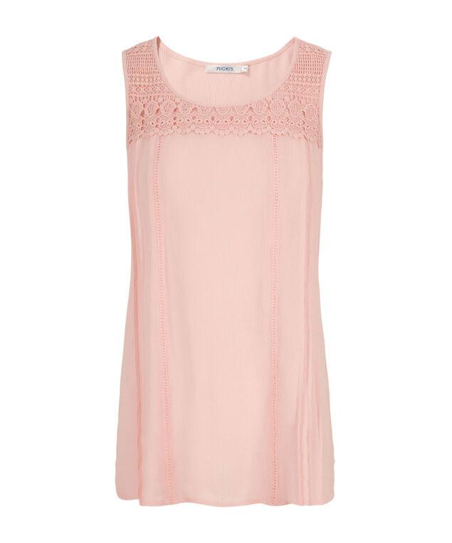Crochet Shirt Tail Tank, Misty Pink, hi-res