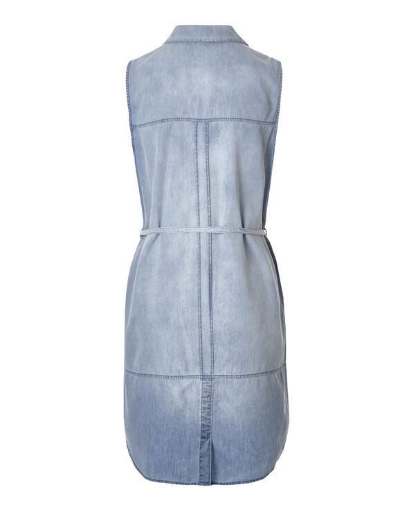 Washed Blue Denim Shirt Dress, Washed Blue, hi-res