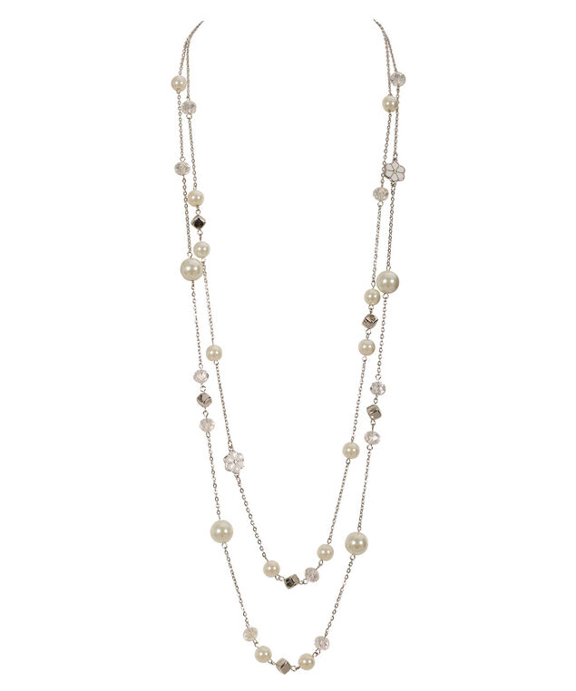 Stationed Faceted Stone Necklace, White/Rhodium, hi-res
