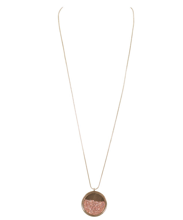 Glass Circle Pendant Necklace, Pink/Rose Gold, hi-res