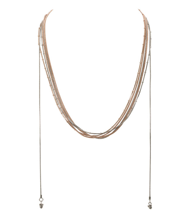 Multi Row Convertible Necklace, Rose Gold/Rhodium, hi-res