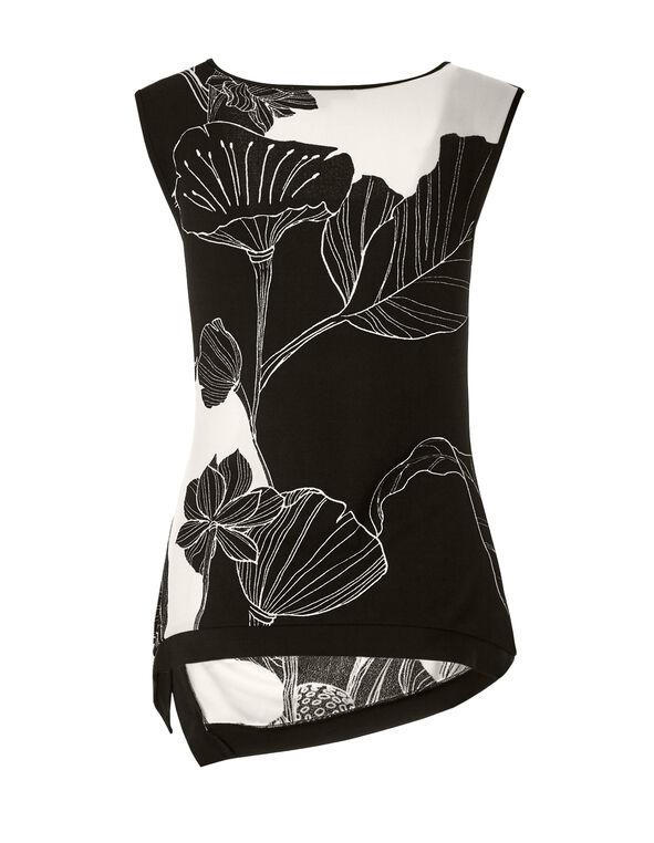 Sleeveless Floral Print Top, Black/Ivory, hi-res
