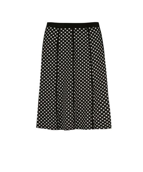 Polka Dot Piping Flip Skirt, White/Black, hi-res
