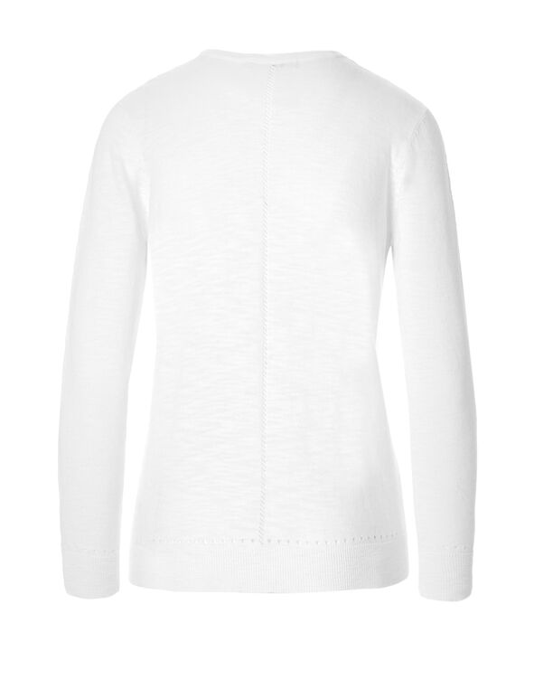 White Front Pleated Cardigan, White, hi-res