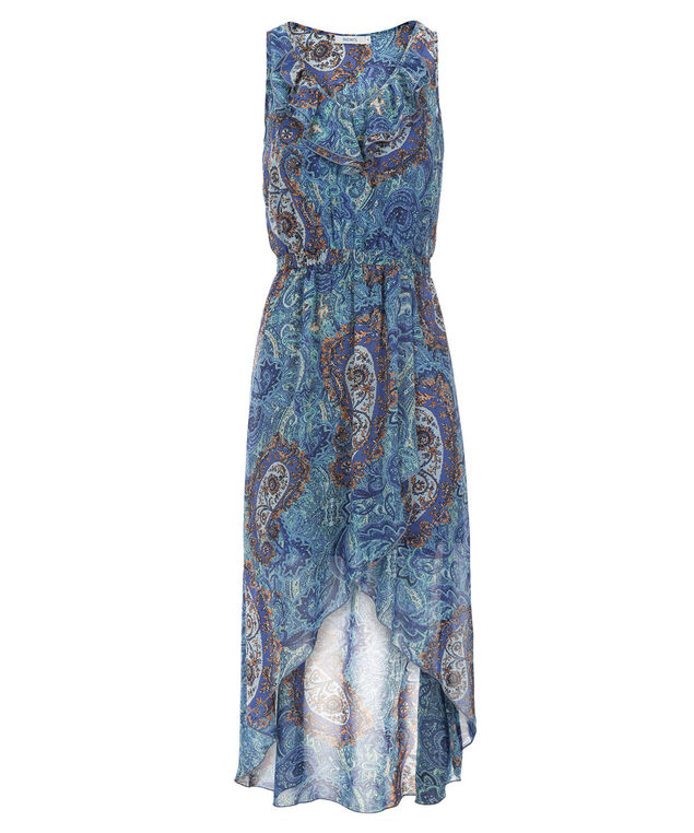 Paisley Ruffle Front Dress, Blue Paisley Print, hi-res