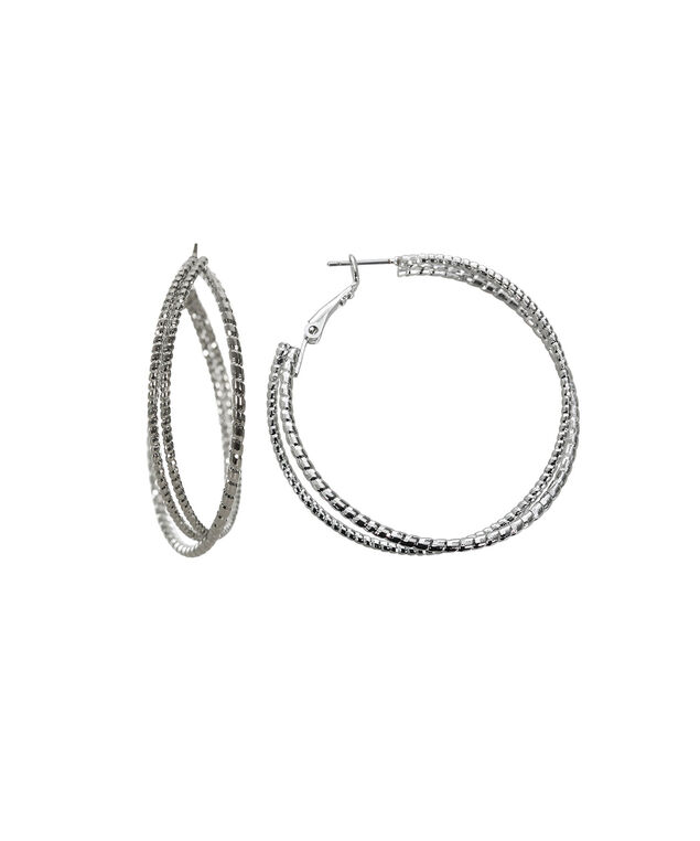 Criss Cross Hoop Earring, Rhodium, hi-res