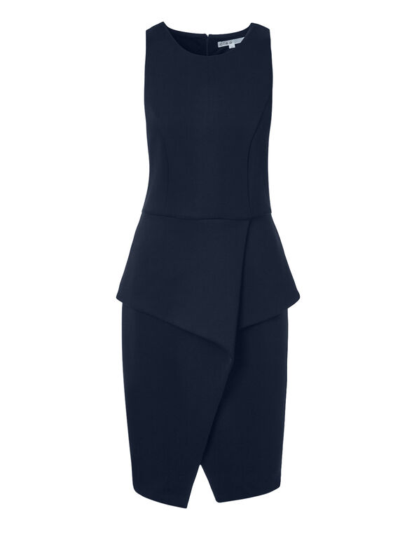 Navy Peplum Shift Dress, Navy, hi-res