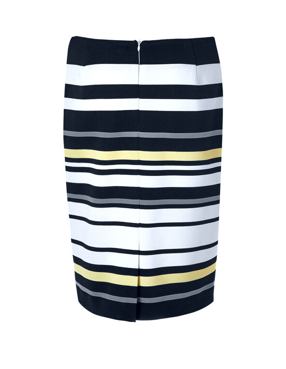 Navy Stripe Pencil Skirt, White/Navy/Yellow Stripe, hi-res