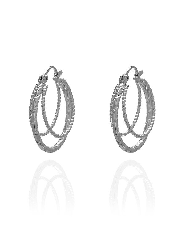 Silver Textured Triple Hoop Earring, Silver, hi-res
